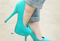 Turquoise pumps! It especially suits the summer time.