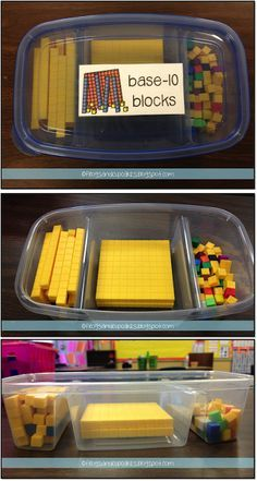 A great way to store base ten blocks...So simple and organized! Just need to find the containers!  From Tales of Frogs and Cupcakes.
