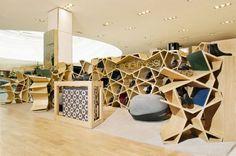 Moroccan design in a modern display case/ book shelf. Wow! Sergio Rossi Shop in Casablanca