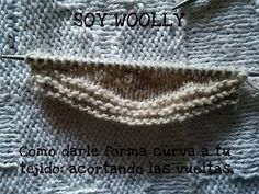 Cómo darle forma al tejido: acortar las vueltas Clase 72 Soy Woolly Knitting Help, Knitting Charts, Knitting Stitches, Baby Knitting, Knitting Patterns, Crochet Patterns, Baby Cardigan, Crochet Squares, Tricks
