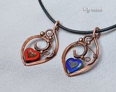 Wire wrapped copper heart pendant necklace  gift for women by Artual