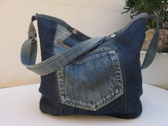 Cool jeans bag cat III denim bag upcycled bag shoulder bag   Etsy Recycle Jeans, Upcycle, 6 Abs, Denim Shoulder Bags, Denim Bag, Jeans Pants, Bag Making, Zipper, Cross Body