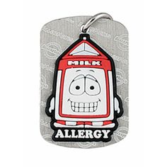 Dairy Allergy Dog Tag with funky Pint character that boys and girls love. Even the Kids without allergies want them!