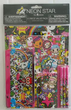 Neon Star by tokidoki 11 Piece Value Pack Stationary Set / School Supplies by FAB Starpoint - Includes:  • 2 Portfolios • 1 Notebook (8in × 10.5in / 20.3cm × 26.7cm) 40 Sheets  • 1 Memo Pad 3in × 5in / 7.6cm × 12.7cm) 25 Sheets  • 1 Pencil Pouch  • 3 Stick Pens  • 1 Sharpener • 1 Ruler  • 1 Eraser