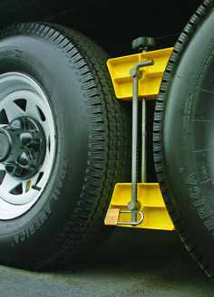 Camco RV Wheel Stop with Padlock- Stabilizes Your Trailer by Securing Tandem Tires to Prevent Movement While Parked- to Tires- Large Jet Ski Trailer, Boat Trailer Parts, Life Hacks, Rv Parts, Diy Garage, Storage Hacks, Short Trip, Wheels And Tires, Tandem