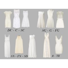 """Little White Dresses"" by mpsakatrixie on Polyvore. Of these DC is definitely the one I'd choose to wear, but in white not ivory."
