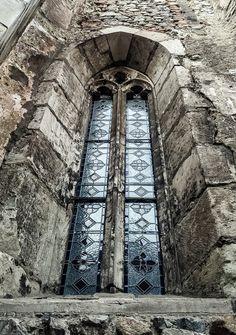 Gothic window from Corvinilor Castle, Hunedoara, Romania.
