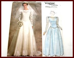 Minus goofy sleeves, gorgeous. LACE Overlay Bridal Gown Sewing Pattern by VintagePatternsDepot