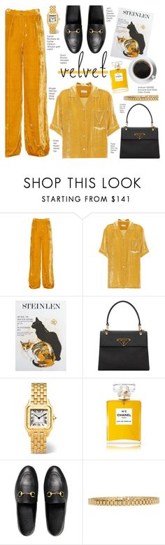 """""""Velvet Yellow Suit"""" by voguefashion101 ❤ liked on Polyvore featuring Thierry Mugler, Dries Van Noten, Prada, Cartier, Chanel, Gucci and AMBUSH"""