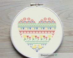 modern cross stitch heart nordic folk art snowflakes by Happinesst