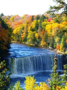 Upper Tahquamenon Falls by Paradise, Michigan, U. -- do the row boat rental and go to upper and lower falls Vacation Places, Vacation Spots, Places To Travel, Places Around The World, Oh The Places You'll Go, Places To Visit, Michigan Waterfalls, Michigan Travel, Beautiful Waterfalls