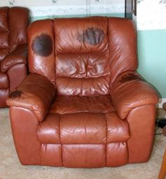Want to stop this happening to your leather furniture? Use LTT Aniline LeatherGuard to prevent build up from head grease and body oils - the only guaranteed protector on the market