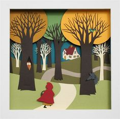Foreground/ background lesson?  Little Red Riding Hood Paper Diorama by mmmcrafts, via Flickr