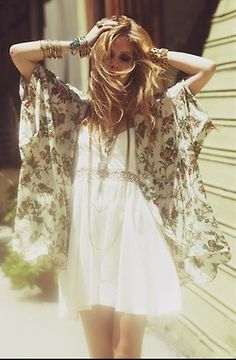 Floral kimono, white babydoll and loads of boho jewelry...Love it all.