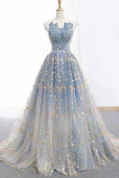 Blue and Gold Lace Ball Gown Prom Dresses, Sweet 16 Princess Quinceanera Dress OKH63