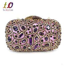 Fashion Luxury Sparkly Diamond Evening Bag Purple Crystal Clutch Bag Women Wedding Party Purse Female pochette banquet bag