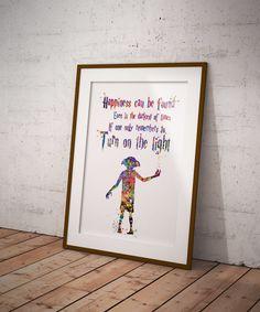 Dobby Quote 2 Free Elf Harry Potter Fan Art Watercolor Print Wall Decor Art