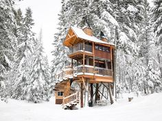 Meadowlark Treehouse at Montana Treehouse Retreat - Treehouses for Rent in Columbia Falls, Montana, United States Treehouse Vacations, Whitefish Mountain, Location Airbnb, Couple Travel, Columbia Falls, Airbnb Rentals, Cabin Rentals, Vacation Rentals, Glacier Park