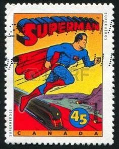 filatelia: Canadá - alrededor de 1995: Sello impreso por Canadá, muestra personajes de cómic, Superman, alrededor de 1995 Editorial
