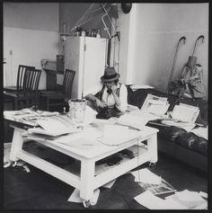 Joseph Beuys in his studio. Photo by Erika Kiffl. Beuys Joseph, Artist Workspace, Fluxus, Artistic Installation, Creative Workshop, Famous Artists, Oeuvre D'art, Art Studios, Artist At Work