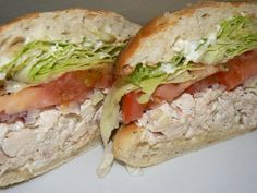 Roasted Chicken Salad, Swiss Cheese, Red Onion, Heirloom Tomato, Lettuce, and Mayo on a Toasted Onion Poppy Seed Ciabatta Roll | Yelp