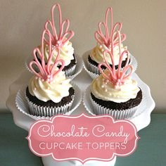 DIY Cupcake Toppers Made of Chocolate Cupcakes Au Cholocat, Cookies Cupcake, Diy Cupcake, Baking Cupcakes, Cupcake Recipes, Cupcake Flags, Monkey Cupcakes, Edible Cupcake Toppers, Cake Decorating Tips