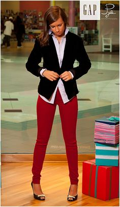 casual work outfits, blazer, red pant