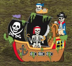 Haunted Pirate Ship Wood Project Pattern These scary pirates are sure to steal the scene as they search for booty in your yard this Halloween! Wooden Halloween Decorations, Halloween Yard Displays, Halloween Yard Art, Halloween Projects, Fall Halloween, Disney Halloween, Homemade Pirate Costumes, Winfield Collection, Halloween Patterns