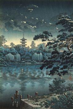 上野不忍の池 (Ueno Shinobazu Pond), by Koitsu, Tsuchiya, 1939 October. -- See also at: http://data.ukiyo-e.org/artelino/images/39983g1.jpg
