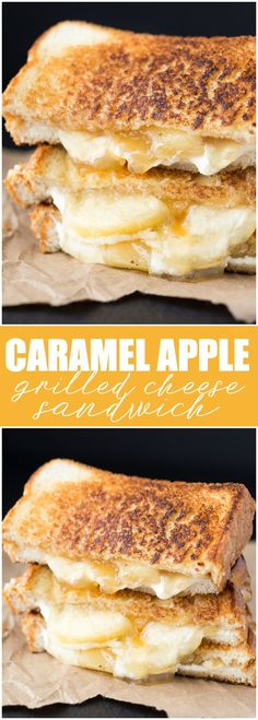 Caramel Apple Grilled Cheese Sandwich - One of the most delicious dessert grilled cheese sandwiches you'll ever have!