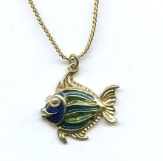 Vtg 1960s Hedy Hedison Green Enamel Fish Gold Tone Pendant Necklace with Chain