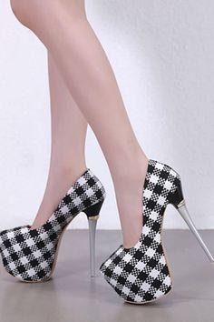 be0d22e43753 Black Plaid Woven Round Toe Platform Stiletto High Heel Pumps