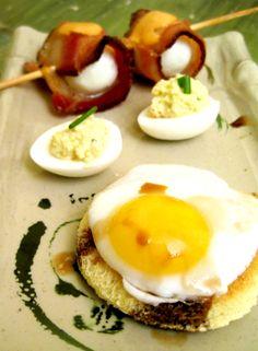 Bacon Wrapped Quail Egg with a Sriracha Sauce  Wasabi Lemon Deviled Quail Egg  Quail Egg on Toast