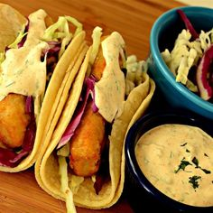 "Baja Sauce for Fish or Shrimp Tacos | ""Perfect blend of flavors! The ground ancho chile pepper lends a mild heat and a sweet fruity flavor."" #fishtacos #tacos #tacorecipes #recipes #bajafishtacos"