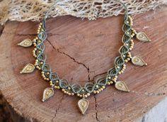 Macrame necklace with brass beads, Tribal hippie jewelry, Woven Necklace, choker necklace, choose yo Diy Macrame Earrings, Macrame Bracelet Tutorial, Macrame Jewelry, Macrame Bracelets, Gemstone Bracelets, Ankle Bracelets, Boho Necklace, Handmade Bracelets, Handmade Jewelry