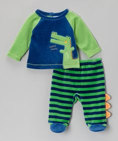 Take a look at this Green Alligator Top & Footie Pants - Infant on zulily today!