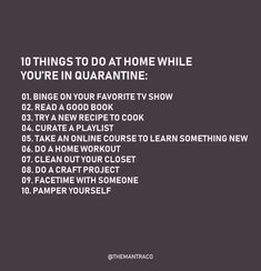 10 Things to do at home while you're in quarantine: – THE MANTRA CO. Source by themantraco Productive Things To Do, Things To Do At Home, Stuff To Do, Bucket List For Teens, Bored Jar, Summer Fun List, Things To Do When Bored, Self Care Activities, Bullet Journal Ideas Pages