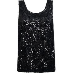 ONLY Sequin Sleeveless Party Top ($23) ❤ liked on Polyvore featuring tops, shirts, tank tops, black, party tanks, tall tops, sequin shirt, no sleeve shirt and tall tank tops