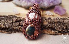 Shiva Eye Gemstone Pendant Polymer Clay Necklace by ClaneralAmulet