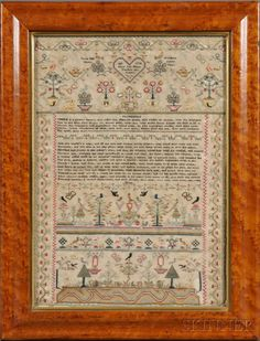 "Sampler with Shakespearean Verse, England, 1798, with Jacques's speech from act II scene vii of As You Like It surrounded by floral and foliate motifs and signed ""Mary Ann Briant Finished This Sampler AD 1798,"" sight size 17 x 12 1/2 in."