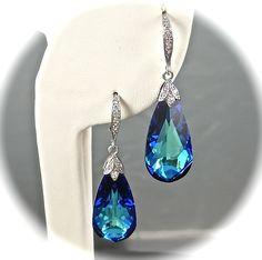 Something Blue Wedding Earrings, Bermuda Blue Crystal Earrings, CZ Vintage Style Sterling Silver Bridal Jewelry Blue Beach Wedding Earrings. $42.00, via Etsy.