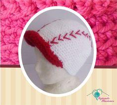 Modelo N° 15 : Beisbol  rojo, gorrito en forma de pelota de beisbol tejido a crochet