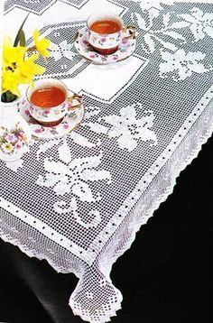 Filet Crochet Square Tablecloth - Orchid