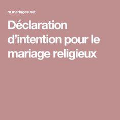 Déclaration d'intention pour le mariage religieux