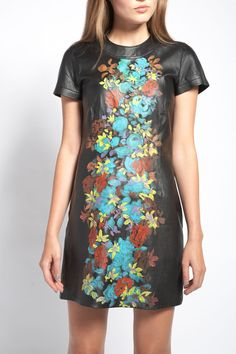 Natasha Gan leather mini dress with exclusive hand painted detail
