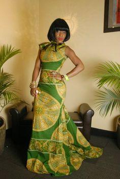 Ankara long gown by on Etsy African Wedding Dress, African Print Dresses, African Wear, African Attire, African Women, African Dress, African Prints, African Style, Dress Wedding