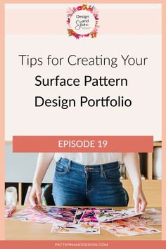 If you are starting to get your surface pattern design portfolio ready to send to clients and you're not sure what to or what not to include then this podcast episode of Design and Shine is for you. I'll be talking through some tips that you may want to consider when preparing your textile design portfolio. Textile Design, Fabric Design, Kids Patterns, Floral Patterns, Photoshop Tips, Inspiration For Kids, Signature Design, Surface Pattern Design, Geometric Designs