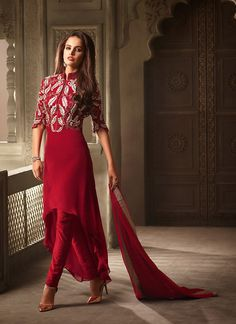 Wrap Style Red with Butta Work Incredible Unstitched Salwar Kameez