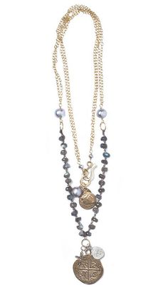"Look what I found at LizJames.com... Kelsey - Labradorite rondelles or pillow turquoise with gray pearls and 14kt gold fill chain are a great combination. Kelsey is accented by gold and silver coins and a small diamond cross. 39""L"