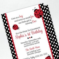 Ladybug Birthday Invitations Printable Flowers Ladybug First